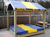 Playground Equipment for Schools - Sand box with coloured cover and canopy